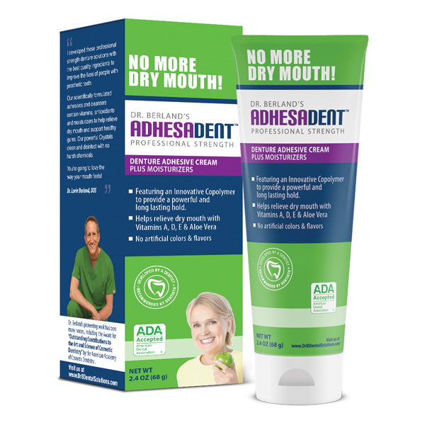 Box of Adhesadent Denture Adhesive to reduce dry mout and sore spots