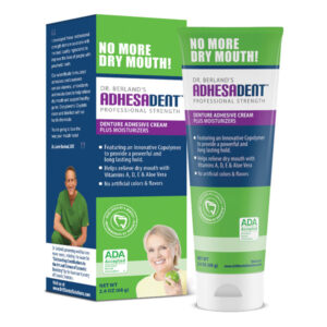 Adhesadent Denture Adhesive with Vitamins and Aloe Vera to Reduce Dry Mouth and Sore Spots.