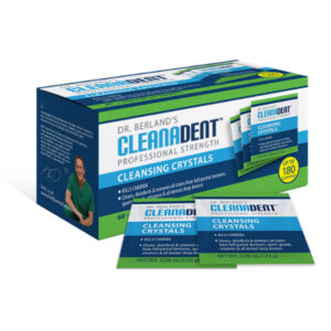 Box of Cleanadent Crystals Soak Cleaner to Disinfect Dentures, Retainers, Guards and Sleep Apnea Devices.