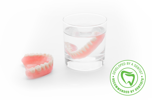 Denture soak in disinfecting cleanser