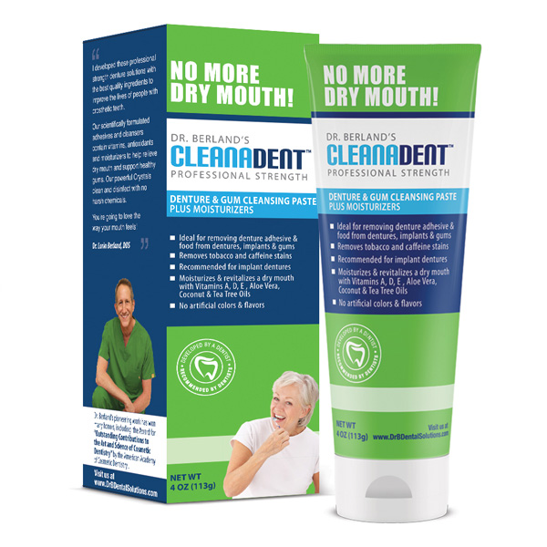 Box of Cleanadent Paste, special toothpaste for dentures, gums, impants and all-on-4 that works to reduce dry mouth